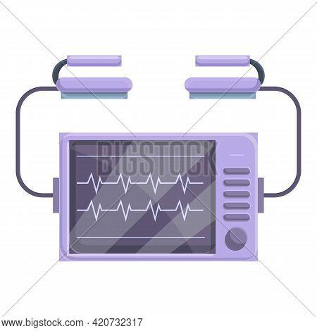 Portable Defibrillator Icon. Cartoon Of Portable Defibrillator Vector Icon For Web Design Isolated O