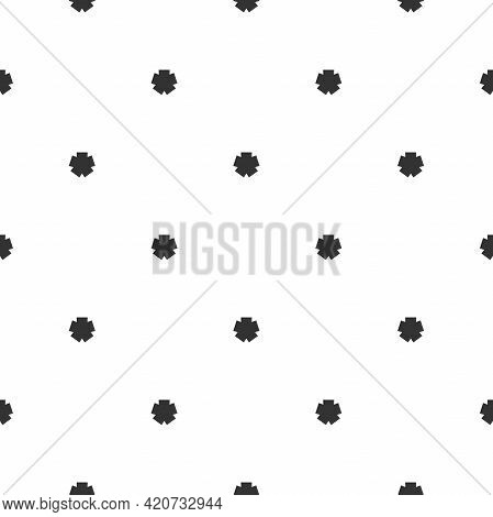 Seamless Pattern With Black Line Star Or Asterisk On White Background. Ethnic Symmetric Background.