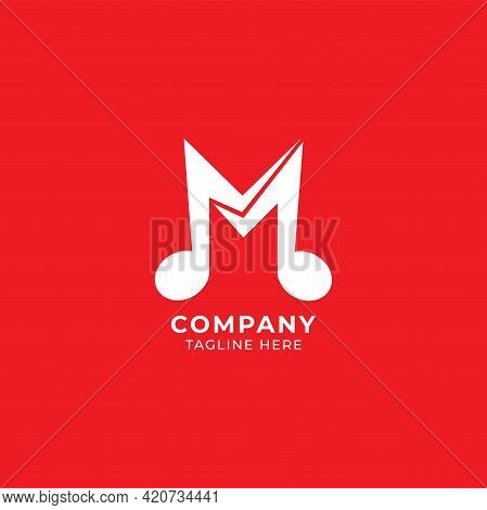 Letter M Alphabet Music Logo Design Isolated On Red Background. Initial, Musical Note, Quaver, Eight