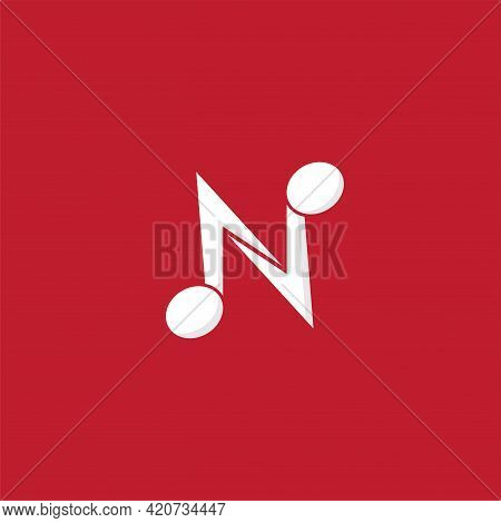 Letter N Alphabet Music Logo Design Isolated On Maroon Background. Initial, Musical Note, Quaver, Ei