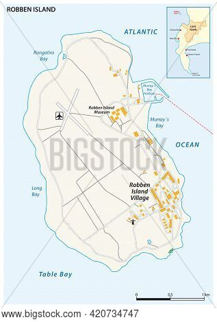 Map Of Robben Island Former Prison, Cape Town, South Africa
