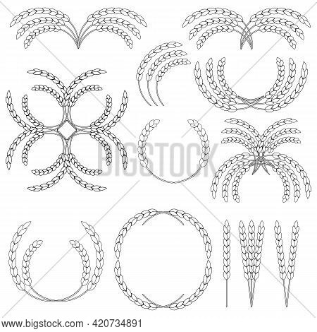 Set Of Wheat Wreaths And Grain Spikes. Line And Outline Vector Clipart And Drawings. Black And White