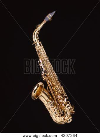 Saxophone On Black Background