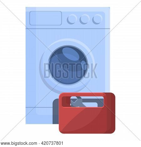 Toolbox Broken Washing Machine Icon. Cartoon Of Toolbox Broken Washing Machine Vector Icon For Web D