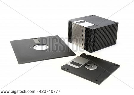 5.25 Inch And 3.5 Inch Floppy Diskettes Isolated On White