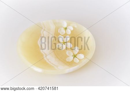 Three Beautiful White Flowers Of Apple Tree On An Onyx Plate. Abstract Spring Composition. Selective