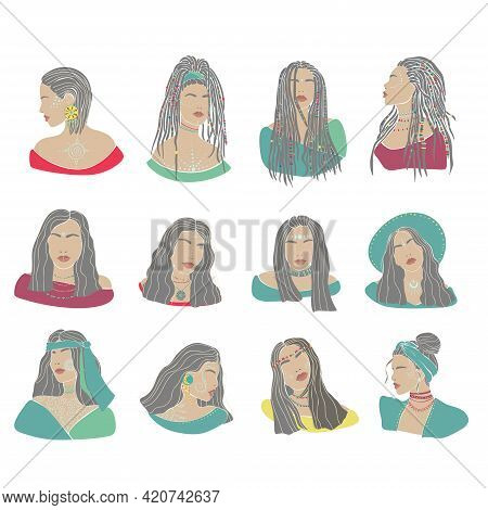Woman Boho Set Drawn In Modern Style. Vector Isolated Illustration. Beauty Fashion Design.vector Bac