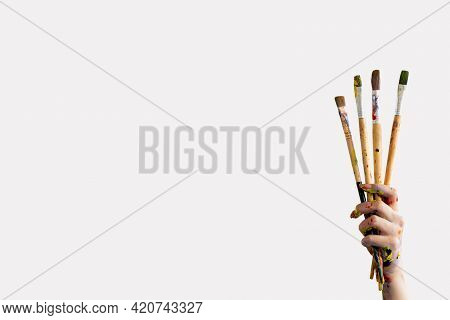 Painting Tools. Aesthetic Lifestyle. Artistic School. Advertising Background. Female Hand In Colorfu