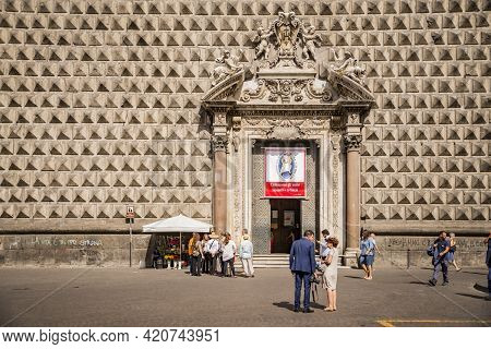 Naples, Italy - September 8, 2016: Façade Of Chiesa Del Gesù Nuovo With Tourist, Naples, Italy