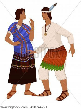Man And Woman, People In Clothes, Maya Empire