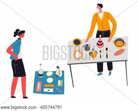 People Selling Kitchenware On Flea Market Sale