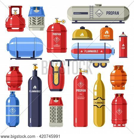 Gas Cylinder And Containers With Petroleum Vector