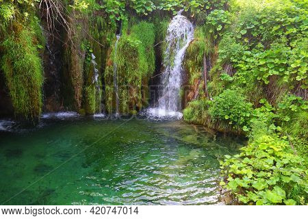 Plitvice Lakes National Park. Croatia Waterfalls Amazing Landscape.