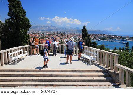 Split, Croatia - July 20, 2019: Tourists Visit A View Point In Split. Croatia Had 18.4 Million Touri