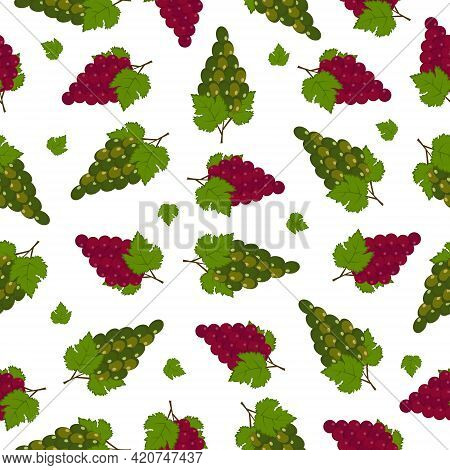 Grape Juicy Summer Seamless Pattern With A Picture Of Ripe Red Green Grapes With Green Leaves. Summe