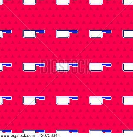 Blue Saucepan Icon Isolated Seamless Pattern On Red Background. Cooking Pot. Boil Or Stew Food Symbo