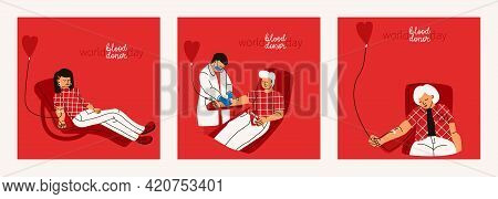 World Blood Donor Day. Set Of Vector Illustrations On Blood Donor Concept. Men And Women Donate Bloo