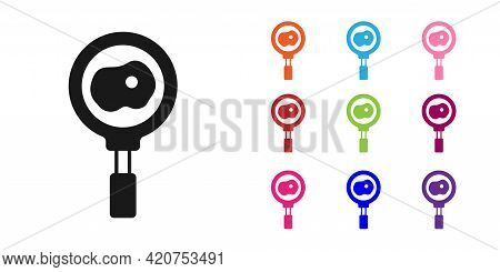 Black Fried Eggs On Frying Pan Icon Isolated On White Background. Fry Or Roast Food Symbol. Set Icon