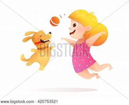 Baby Girl And Dog Best Friends Playing Together, Puppy Fetching A Ball To A Kid. Happy Little Girl P