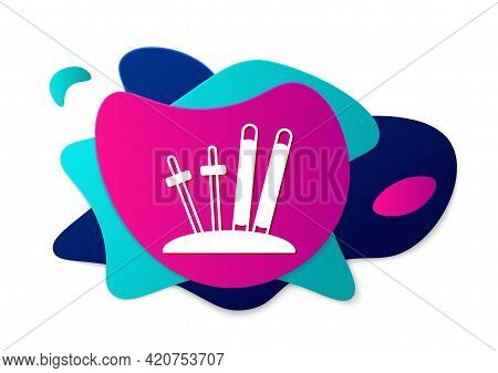 Color Ski And Sticks Icon Isolated On White Background. Extreme Sport. Skiing Equipment. Winter Spor
