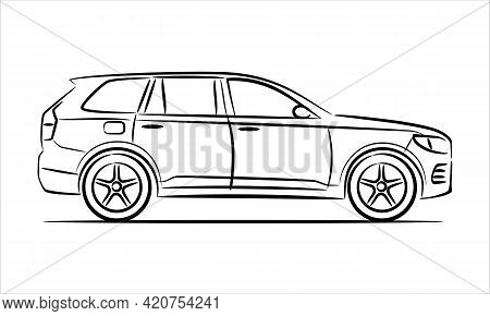 Modern Suv Car Abstract Silhouette On White Background. A Hand Drawn Line Art Of A Sedan Car.