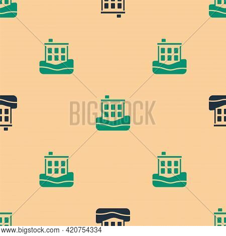 Green And Black House Flood Icon Isolated Seamless Pattern On Beige Background. Home Flooding Under