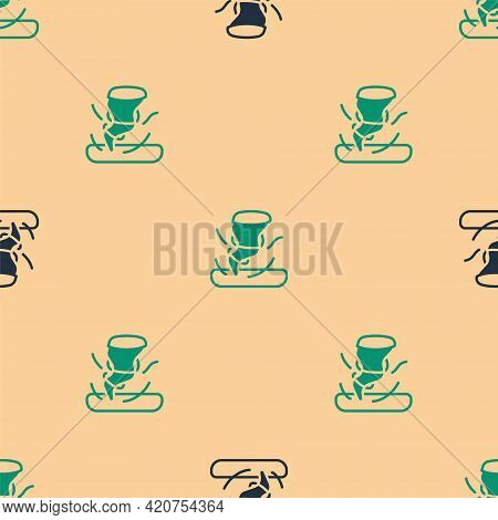 Green And Black Tornado Icon Isolated Seamless Pattern On Beige Background. Cyclone, Whirlwind, Stor