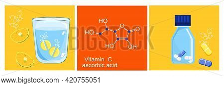 Ascorbic Acid Or Vitamin C. Chemical Formula.effervescent Tablet Dissolves In A Glass Of Water. Lemo