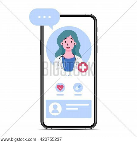The Smartphone With A Doctor Or Female Therapist On Screen, Chat And Advise An Online Consultation.