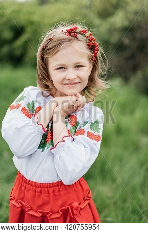 Vyshyvanka Day. Child In Traditional Embroidery. Ukraines Constitution Day. 24 August. Patriotic Hol