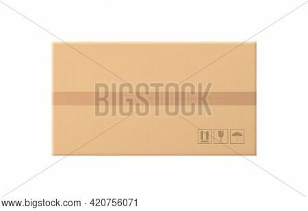 Realistic Closed Cardboard Box. Top View. Brown Delivery Packaging Box. Warehouse Goods And Cargo Tr