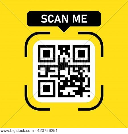 Qr Code Icon. Scanning Identification System. Scan Me. Name Scan. Vector Illustration.