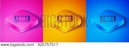 Isometric Line Packet Of Pepper Icon Isolated On Pink And Orange, Blue Background. Square Button. Ve
