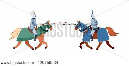 Armed Medieval Knights Fighting On Horses Flat Vector Illustration Isolated.