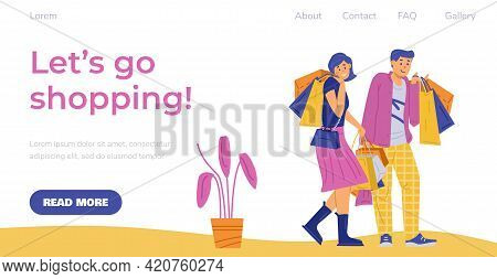 Web Banner For Shopping Event With Happy Shoppers, Flat Vector Illustration.
