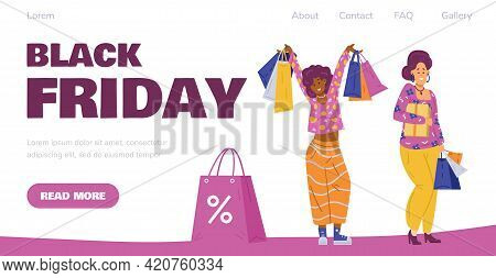 Happy Women Shoppers Enjoy Sales And Discounts In Black Friday.