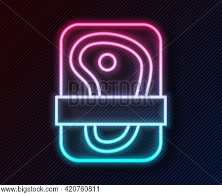 Glowing Neon Line Meat Packaging Steak Icon Isolated On Black Background. Fresh Meat Beef Steak In P