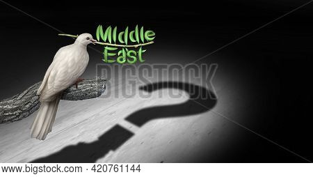 Middle East Peace Questions And Persian Gulf Diplomacy Uncertainty Concept With A White Dove Holding