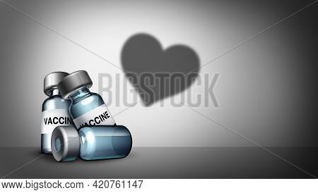 Vaccine Love As A Vaccination Health Care Heart Symbol For The Prevention Of A Virus Infection As Co
