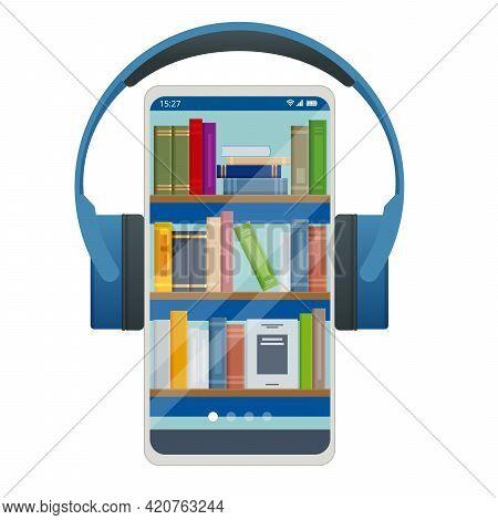Audiobooks Concept. Listening To E-books In Audio Format. Books Online, Headphones. Online Training