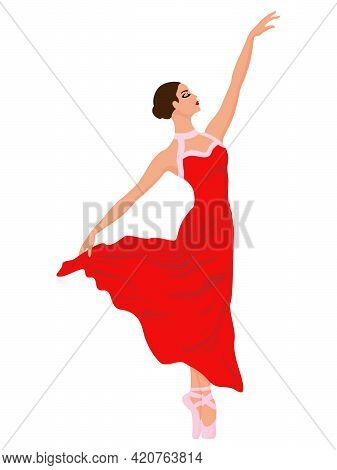 Adorable Ballerina In A Red Long Dress, Hand Drawing Vector, Isolated On The White Background