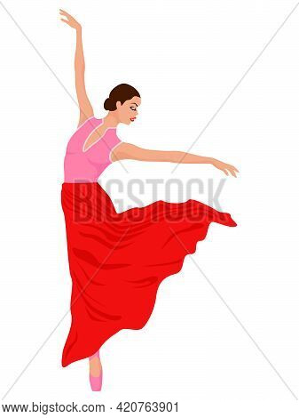 Charming Ballerina In Dress On Pink And Red Hues, Hand Drawing Vector, Isolated On The White Backgro