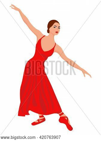 Beautiful Lady Dancer In A Long Red Dress, Hand Drawing Vector, Isolated On The White Background