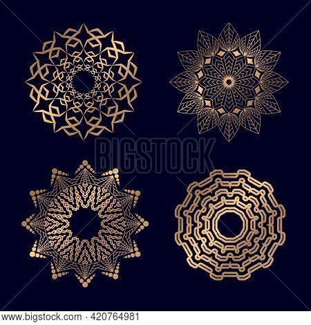 Set Of Monochrome Mandalas. Round Abstract Mandalas Objects Isolated Decorative Geometric Circle Ele