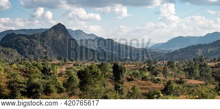 Panorama Of Beautiful Valley Landscape Between Hills And Mountains Between Kalaw And Inle Lake, Shan