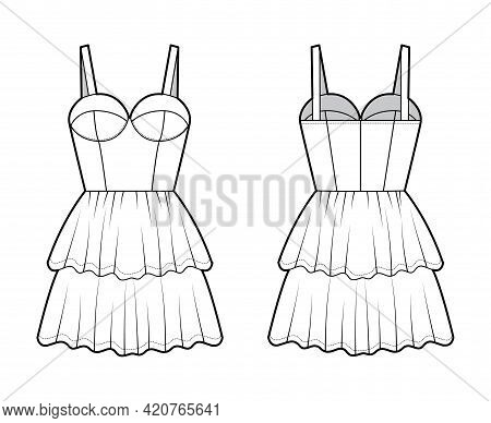 Bustier Dress Technical Fashion Illustration With Shoulder Straps, Fitted Body, 2 Row Mini Length Ru