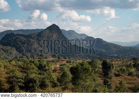 Beautiful Valley Landscape Between Hills And Mountains Between Kalaw And Inle Lake, Shan State, Myan
