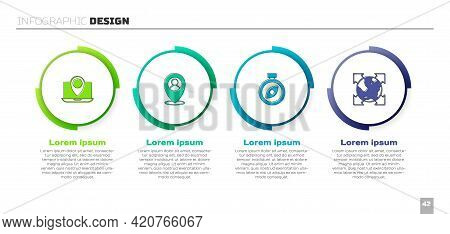 Set Laptop With Location Marker, Location Person, Compass And World Globe Compass. Business Infograp