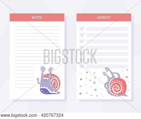 Note And Wishlist Card With Cute Snail Character As Gastropod With Coiled Shell Vector Template