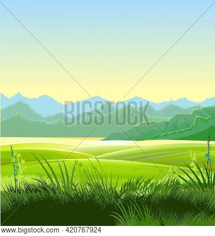 Rural Landscape. Hills And Meadows. Pastures And Farmland. Beautiful Nature View. The Horizon Is Dis